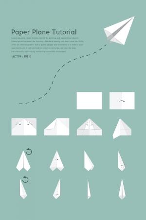 Paper plane tutorial, vector