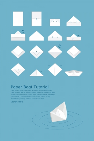 toy boat: Paper boat tutorial, vector