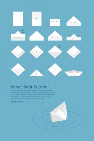 papel reciclado: Tutorial Barco de papel, vector