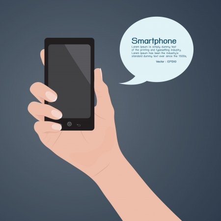 mobile sms: Smartphone in hand, vector Illustration
