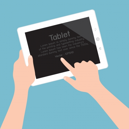 tablet pc in hand: Hands holding and pointing on tablet, vector