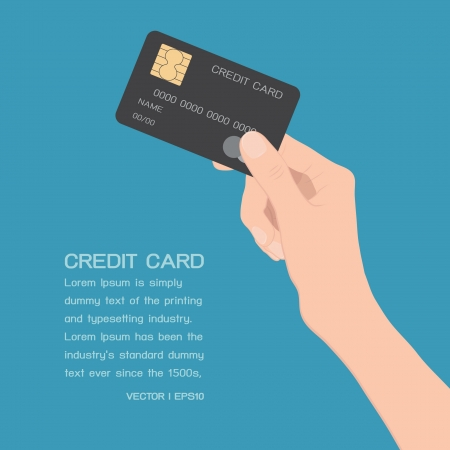 tarjeta visa: Mano que sostiene la tarjeta de crédito