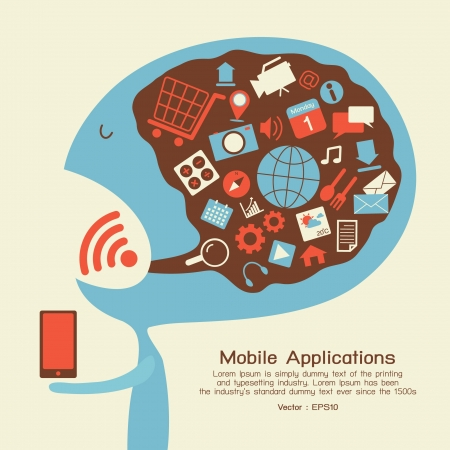 mobile home: Smartphone application icon, vector Illustration
