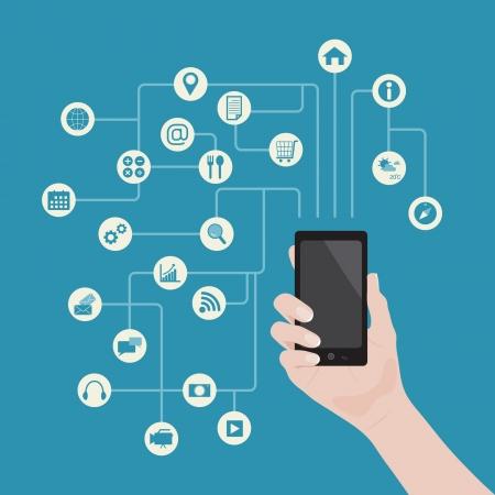 smartphone mano: Smartphone nella mano con applicazioni di sfondo, il vettore Vettoriali