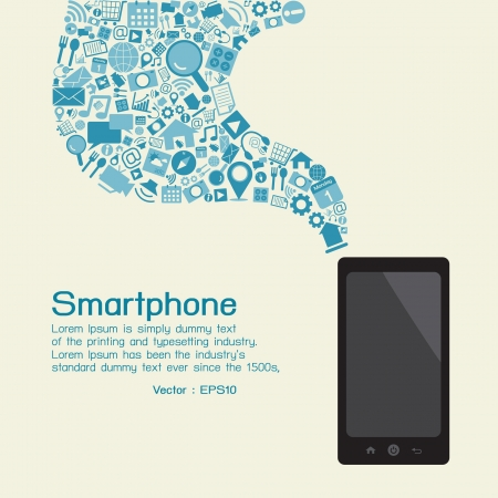 media gadget: Smartphone and applications, vector