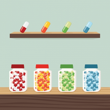 pills bottle: Medicine, vector Illustration