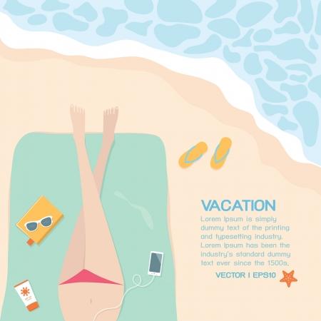 maillot de bain: �t� sur la plage, vecteur Illustration
