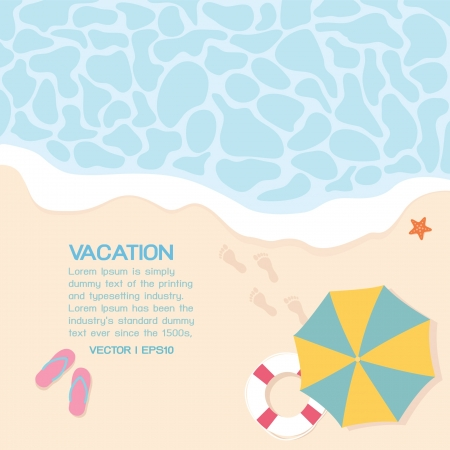 beach umbrella: Summer on the beach, vector