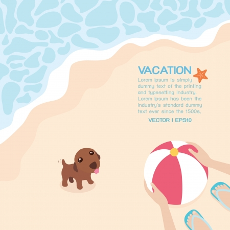 family vacations: Summer on the beach, vector