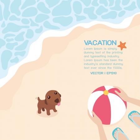 family holiday: Summer on the beach, vector