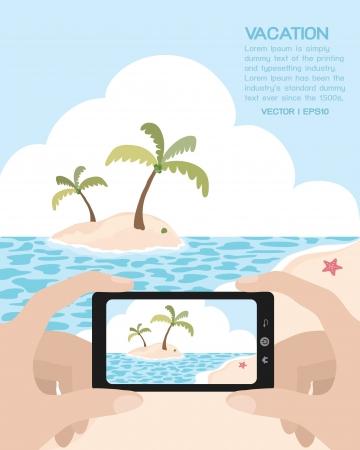 Summer on the beach, vector Vector