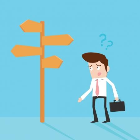 confus: Homme d'affaires en face d'un choix