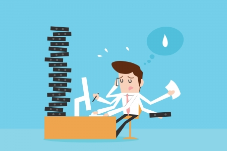 Businessman working hard Stock Vector - 18966045