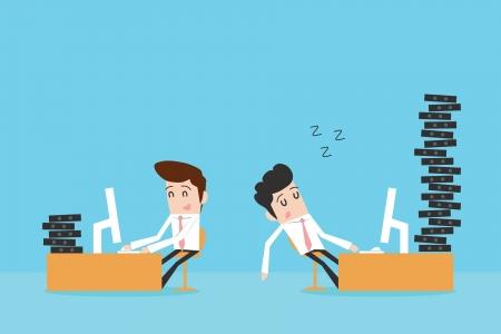 офис: Упорный труд и ленивый бизнесмен Иллюстрация