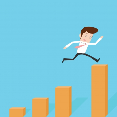 Businessman jump to success Stock Vector - 18966035