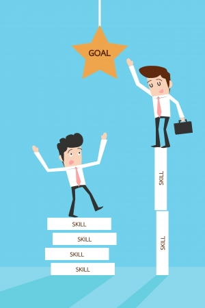 Businessman reaching goal Vector