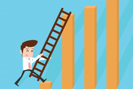 Businessman with ladder and graph Vector