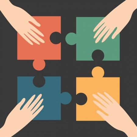 Handen en puzzel, eenheid conceptuele Vector Illustratie