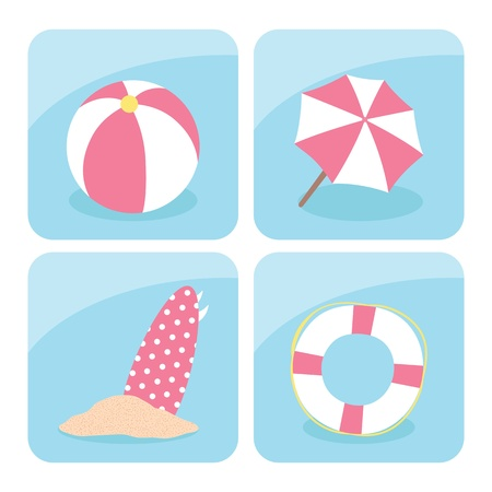 beach umbrella: Summer icons set, vector Illustration