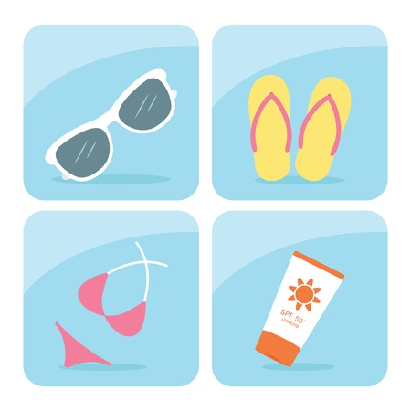 day trip: Summer icons set, vector Illustration