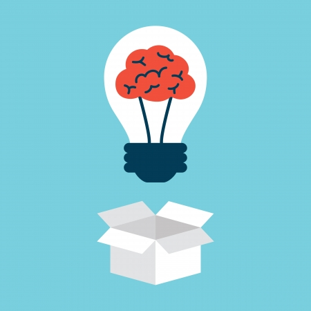 뇌, 상자 밖에서 생각을 가진 전구 일러스트