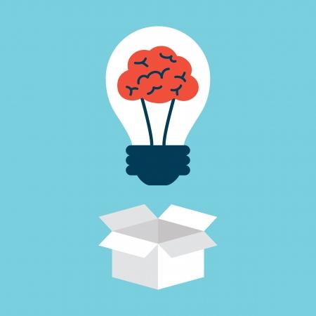 Gloeilamp met hersenen, het denken buiten de doos