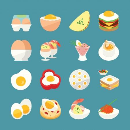 huevos fritos: Men� Egg, iconos de alimentos Vectores