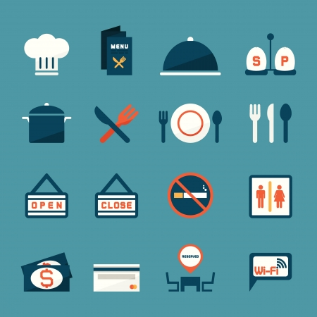 close icon: Restaurant icons