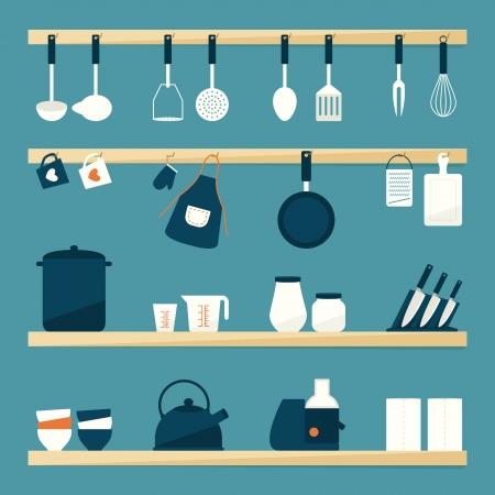 kitchen utensils: Utensilios de cocina iconos Vectores