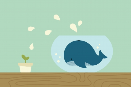 Whale in jar , vector Illustration