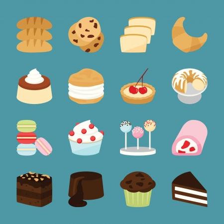 brownie: Bakery icons, vector Illustration