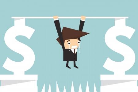 consider: businessman hanging on dollar sign
