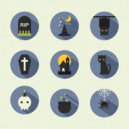 Halloween flat icons, vector