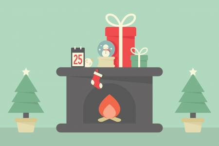 cartoon fireplace: Christmas decoration with tree, fireplace and gifts Illustration