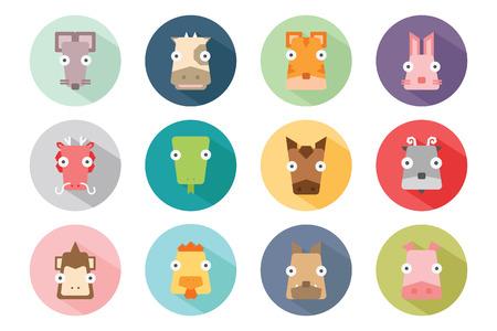lapin: Animal du zodiaque icône ensemble, illustration