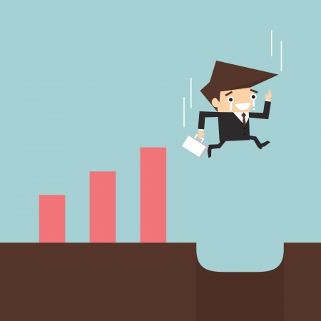 moneyless: Risk in business, businessman falling down to hole  Illustration