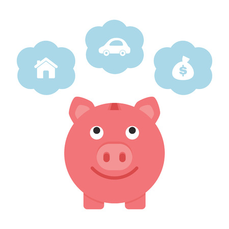 Saving for the future, piggy bank Vector