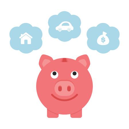 car bills: Saving for the future, piggy bank Illustration