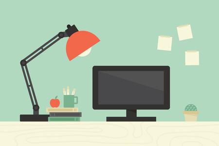 oficina: Escritorio de la computadora, el lugar de trabajo Vectores