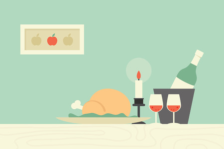 Dining table, vector