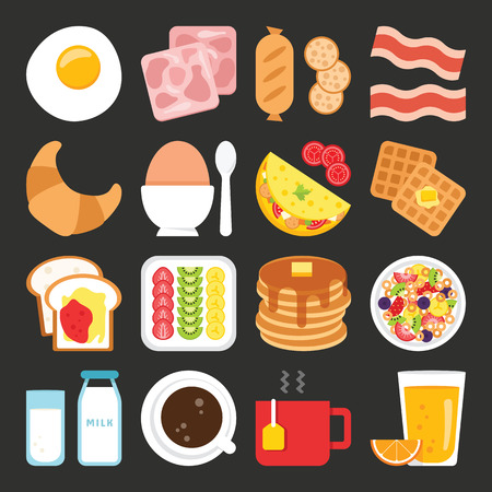 Food icons, breakfast Vectores