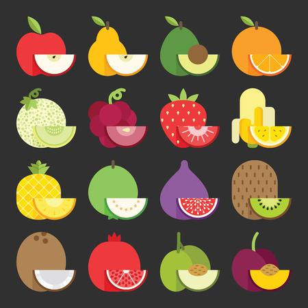 Fruit icon set, vector Vector