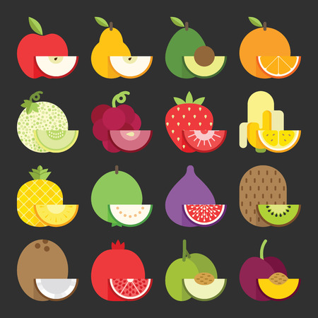guayaba: Icono Fruit set, vector Vectores