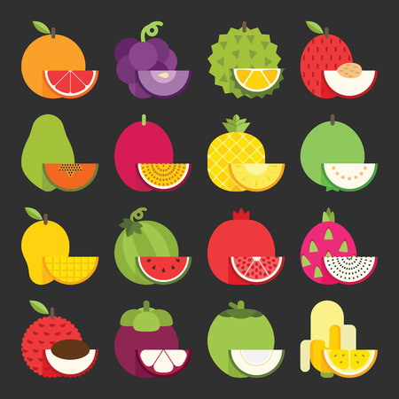 lychee: Tropical fruit icon set, vector Illustration