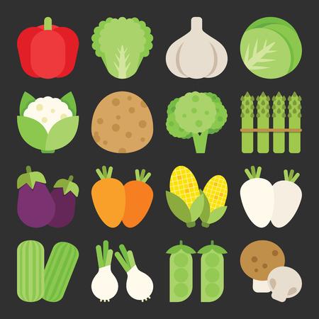 Vegetable icon set, vector Illustration