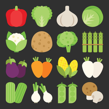 Vegetable icon set, vector Illustration