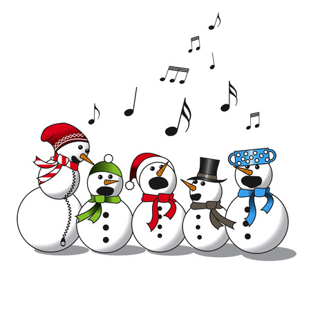 Snowman singing -choir, christmas carol isolated on white background
