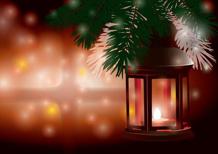 Winter lantern -christmas scene in the snowy night Illustration