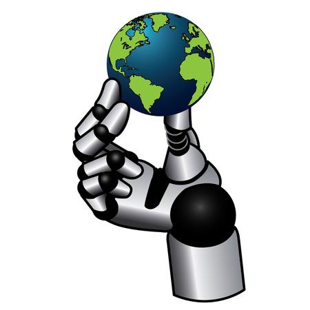 mano robotica: robótica de la mano que sostiene el globo terrestre -isolated