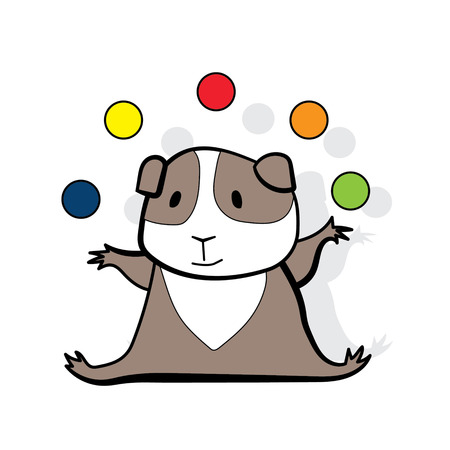 Hamster juggles colorfull balls -isolated on the white background